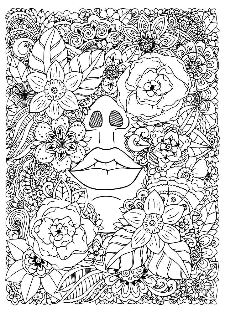 Раскраски цветы антистресс скачать и распечатать ...