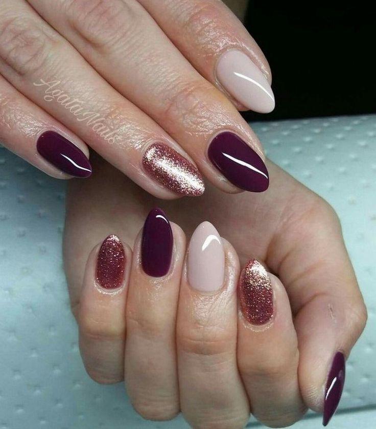 nail art nouvel an bordeaux nude paillettes  #nails #nailart