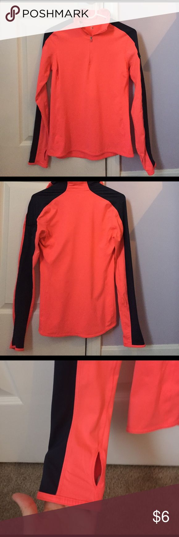 Gap Fit Zip Up Neon pink with navy stripes on the arms zip up, size Small. Thumb holes on the sleeves with a pocket on one arm to hold keys/money/etc. small stain on back from marker marking from outlet store. Material is spandex and polyester. GAP Tops
