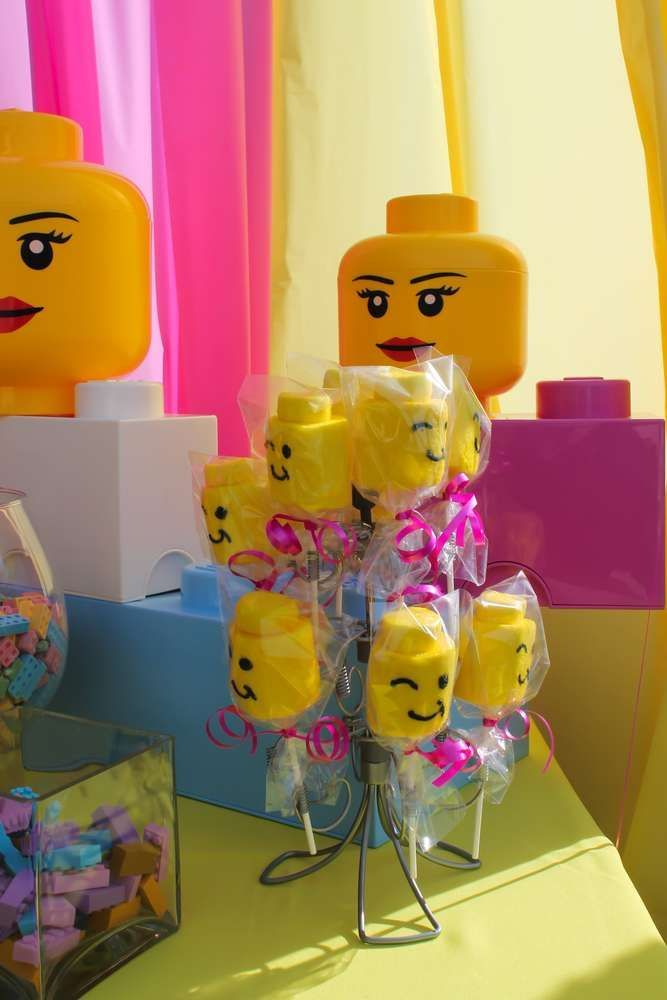 Girl LEGO birthday party marshmallow pops! See more party planning ideas at CatchMyParty.com!