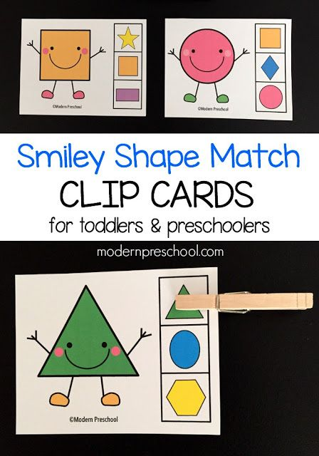Printable shape match clip cards for toddlers & preschoolers! A low prep shape game for kids.