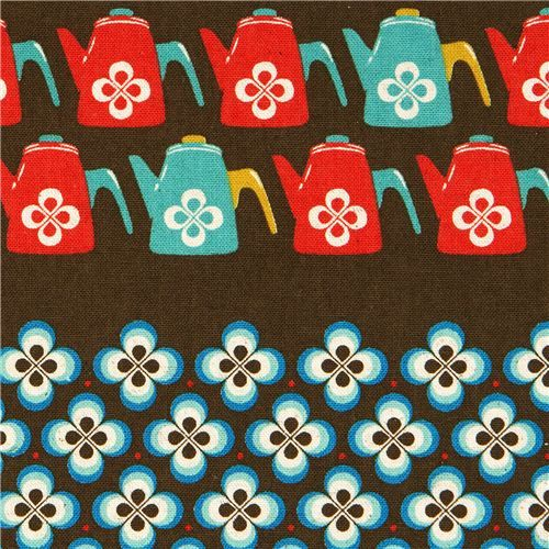 canvas retro fabric with coffee pots & flowers by Kokka