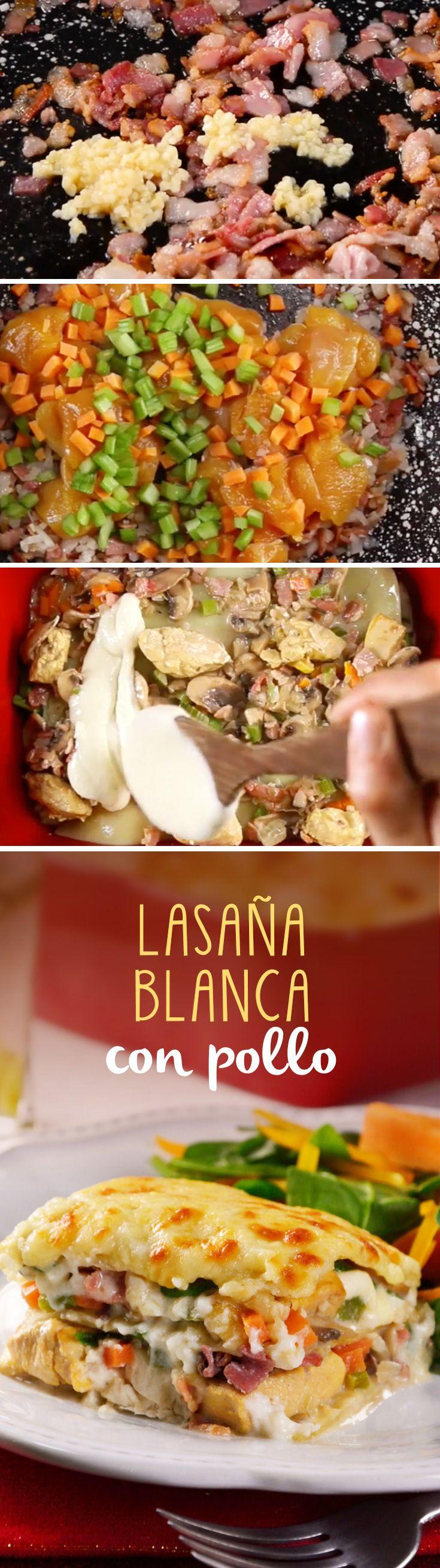 Lasaña fácil de pollo con salsa bechamel o salsa blanca. Es una receta casera económica muy fácil para cenas formales.