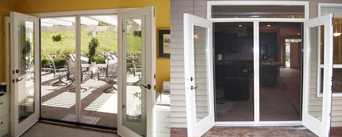 Outswing French Doors with Screen   Retractable Screens   Manual Screens   Customized Screens