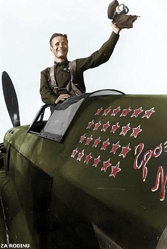 https://flic.kr/p/71DhAe | Russian Fighter Pilot Mikhail Baronov in Stalingrad 1942 | Recolored using Photoshop CS4