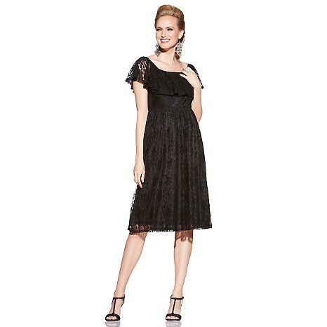 Slinky® Brand Lace Dress with Ruffle Neckline