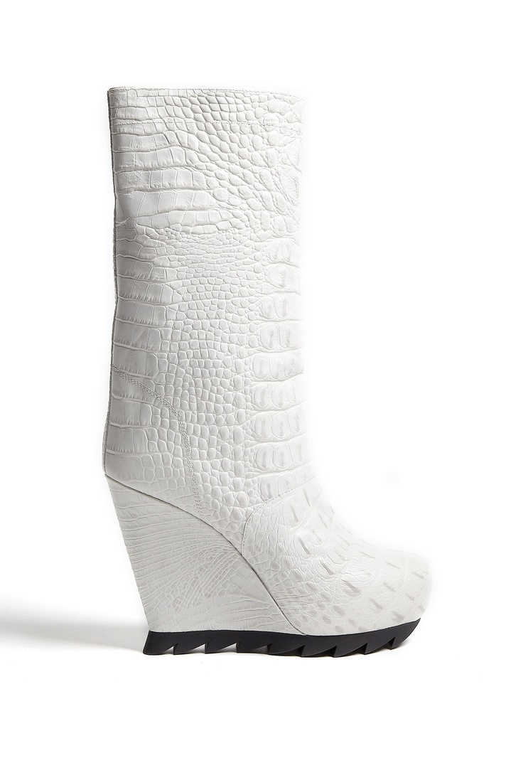 Cloud Crocodile Print Saw Sole Wedge Boots by Camilla Skovga