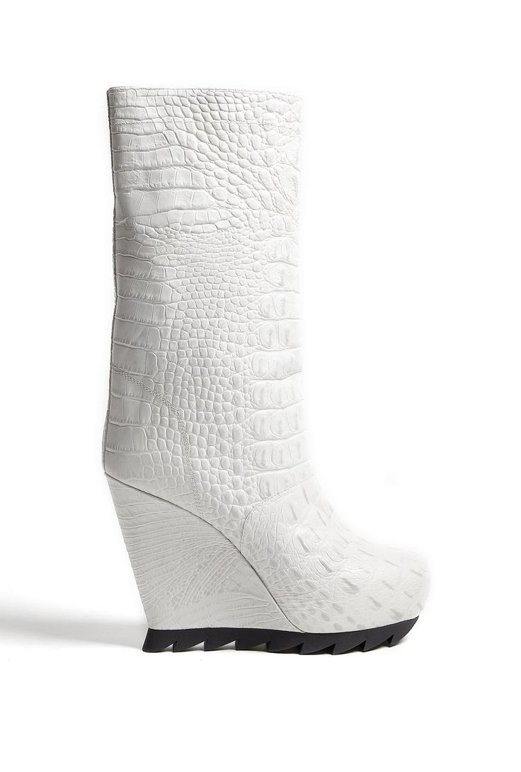 Cloud Crocodile Print Saw Sole Wedge Boots by Camilla Skovga