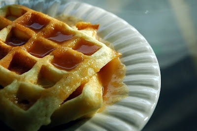 buttered apple cider sauce with buttermilk waffles
