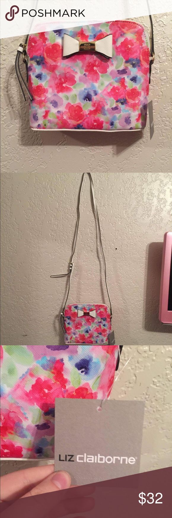 NWT Liz Claiborne crossbody Monica purse Brand new with tags! Very pretty for any season. Price is firm. It was originally $40 and it's a beautiful purse! Matches just about everything. Liz Claiborne Bags Crossbody Bags