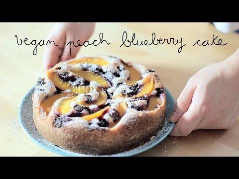 Vegan Peach Blueberry Cake   Tarta de melocotón y arándanos vegana - YouTube
