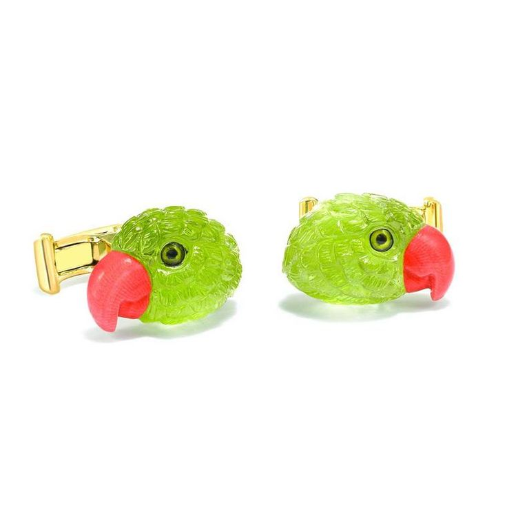 Theo Fennell Parrot cufflinks in 18 carat yellow gold with hand-carved peridot heads, coral beaks and crystal eyes (£4,500).