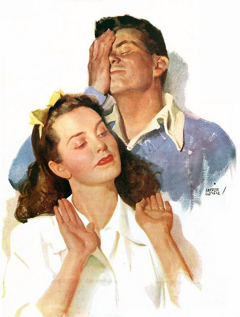"""I believe that I've had conversations which elicited the reaction that  he is showing. As I recall, I didn't have much success. My guess is  that he didn't either. This painting accompanied a story titled  """"The Portrait"""" in the Ladies Home Journal in November 1948, by Andrew Loomis."""