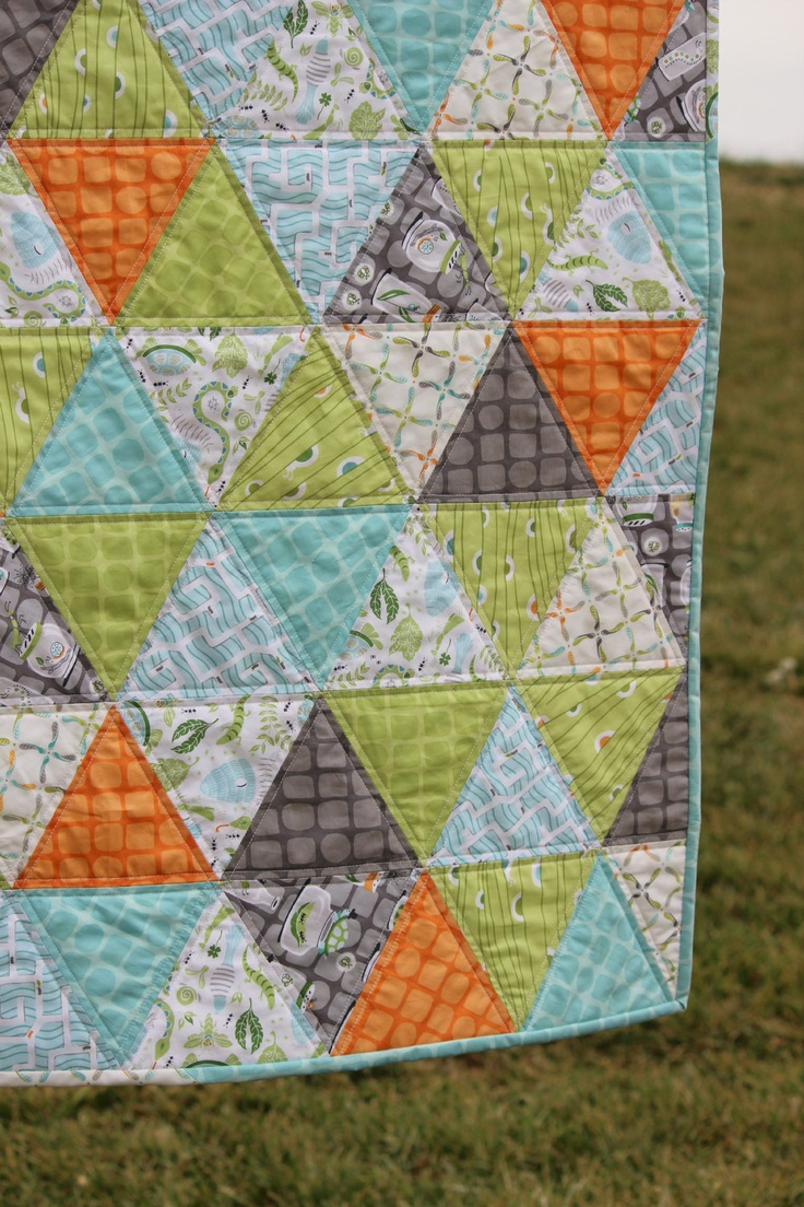 "Baby Boy Quilt Triangle Quilt Backyard Baby. // the ""quilting"" on this wall seems very doable."
