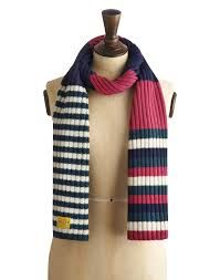 Joules Outlet Womens Striped Knit Scarf, Multi Varsity Stripe Clearance