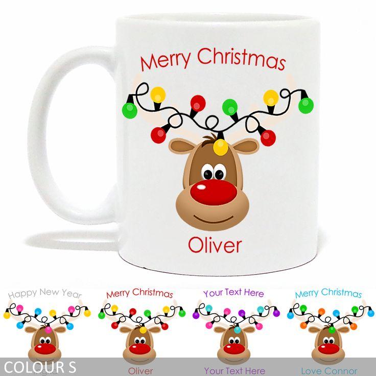 Personalised Christmas Mug - Rudolph Reindeer With Antler Lights