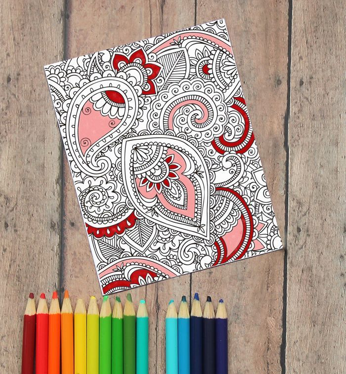 "Coloring Valentine's Day Cards (Free Printable!) The back says, ""You color my world, Valentine"" #freeprintable #valentinesday #valentinesdaycard"