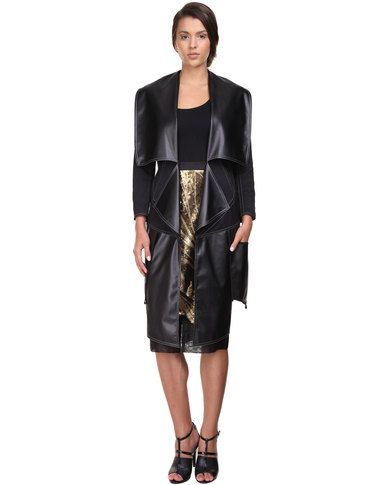 Ilan Tailored Leatherette Coat Black