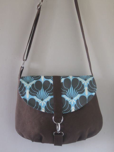 Mini Messenger Brown with Designer Fabric Flap in Amy Butler fabric.