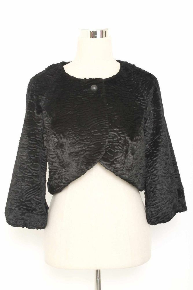 Hallhuber Size 10 Black Textured Faux Fur Bolero 1873 ST815    eBay