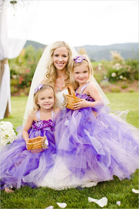 purple flower girl dresses from Laurie's Tutu Boutique
