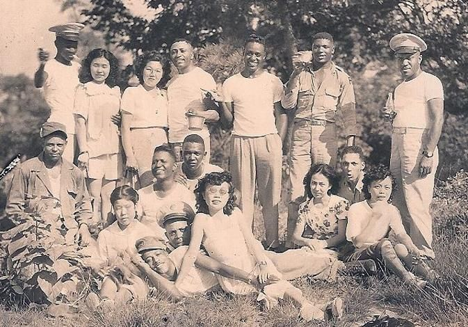 Velina Hasu Houston's father Lemo Houston mother Setsuko Takechi, , back, left. Tokyo 1950, African American soldiers and their Japanese girlfriends and wives.