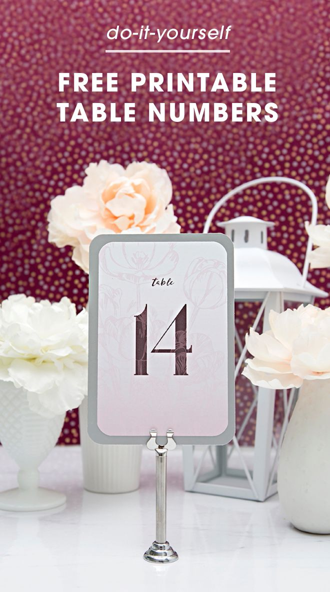 DIY bride? Create elegant table numbers with Something Turquoise's free printable. We love the romantic, floral design.