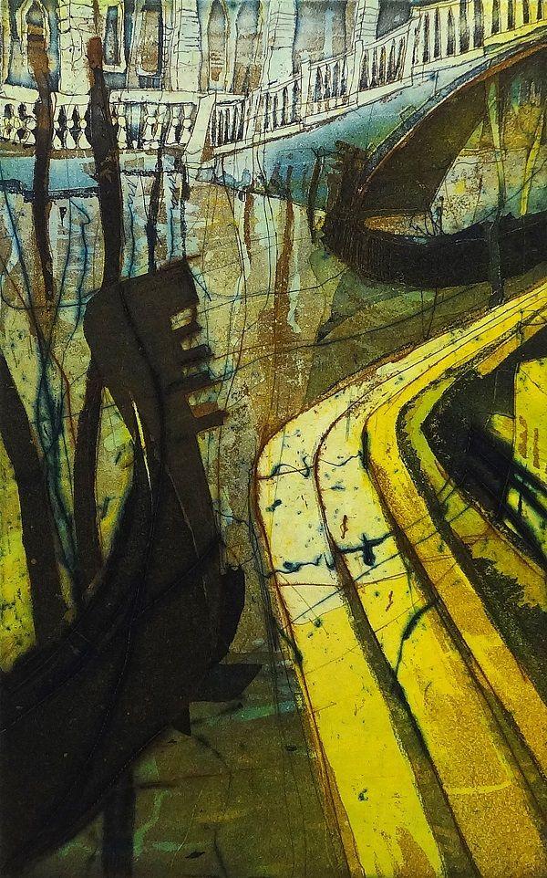 """Bernhard Vogel """"Venezia - Riflessioni"""" Radierung 30 x 18 cm"""