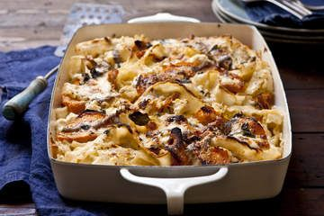 Baked lasagnette with pumpkin, anchovies and taleggio
