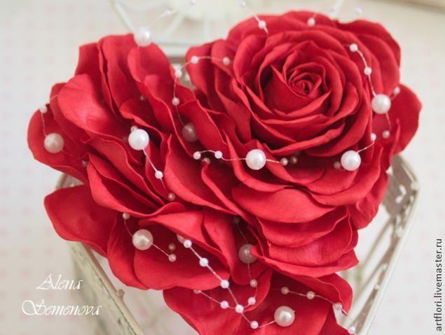 Мастер-класс 2 в 1. Роза и валентинка из фоамирана. - Ярмарка Мастеров - ручная работа, handmade