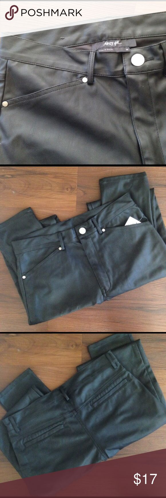 Nasty Gal faux leather pants Faux leather pants. Size medium. Purchased on here and do not fit me. Small blemish on inside waistband (as pictured.) fit more like a small. Nasty Gal Pants Straight Leg