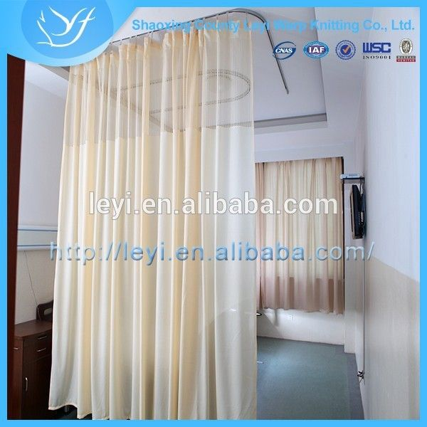 LY 3 100% Polyester Beige LY Hospital Curtain/Hospital Mesh Curtain Fabric
