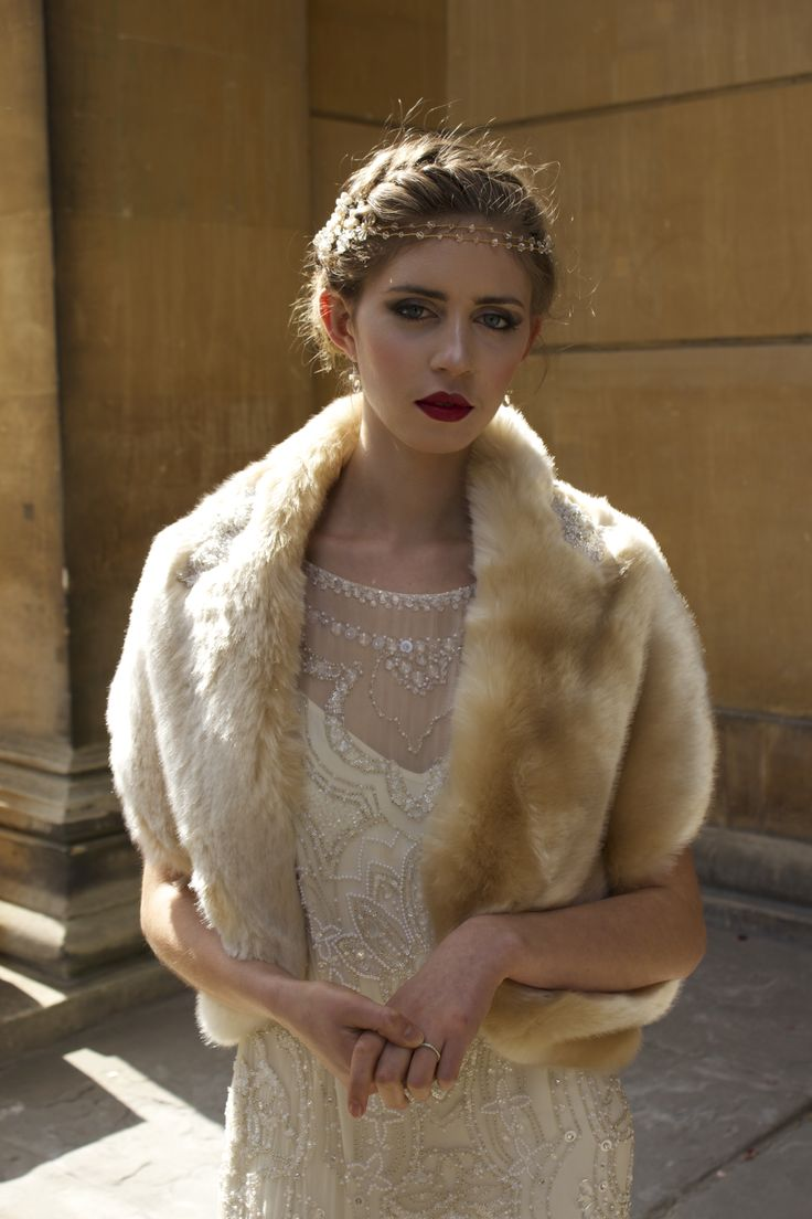 Glowing bridal faux fur jacket by Blanche in the Brambles. Champagne faux fur. Dress by Jenny Packham