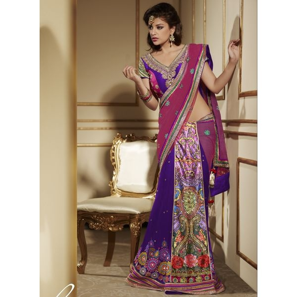 Pink blue Embroidered Party Wear Lehenga Saree.This party wear lehenga saree is beautified with resham thread embroidered buttas studded with beads with embroidered border and shimmer patch patti,add extra glam to the saree.