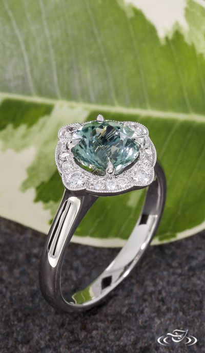 Art Deco Halo Montana Sapphire Engagement Ring. Green Lake Jewelry 117489