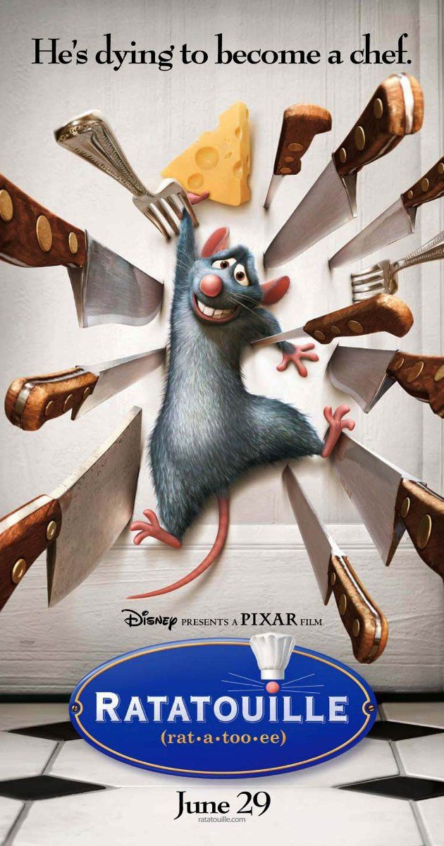 Ratatouille (2007): A rat, who can also cook, makes an unusual alliance with a young kitchen worker at a famous restaurant.