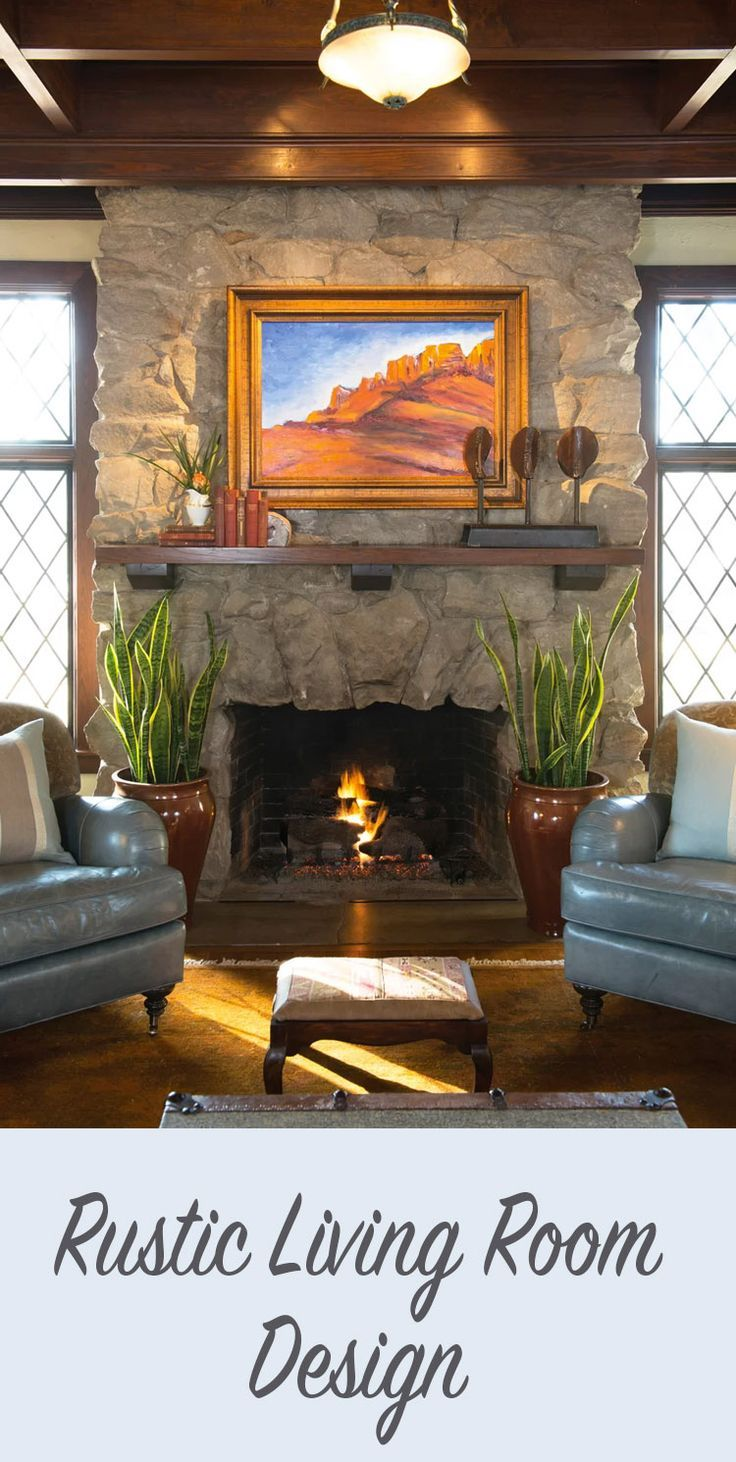 I love all the textures - the wood, stone, and leather in the rustic design style. I also like the set-up, the chairs by the fire the southwestern art over the fireplace. #homedecor #farmhouse #traditional #ad
