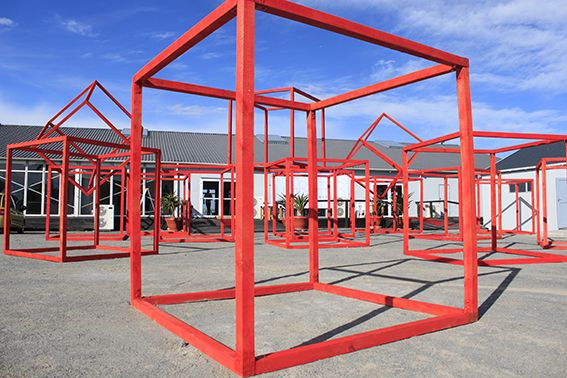 Red Squares for the very First Cape Town Art Fair. South Africa. artist: Strijdom van der Merwe. www.strijdom.com