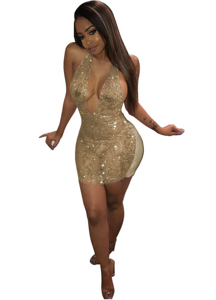 Semi-Sheer Sequin Halter Mini Dress_Club Dress_Clubwear Clothing_Sexy Lingeire | Cheap Plus Size Lingerie At Wholesale Price | Feelovely.com