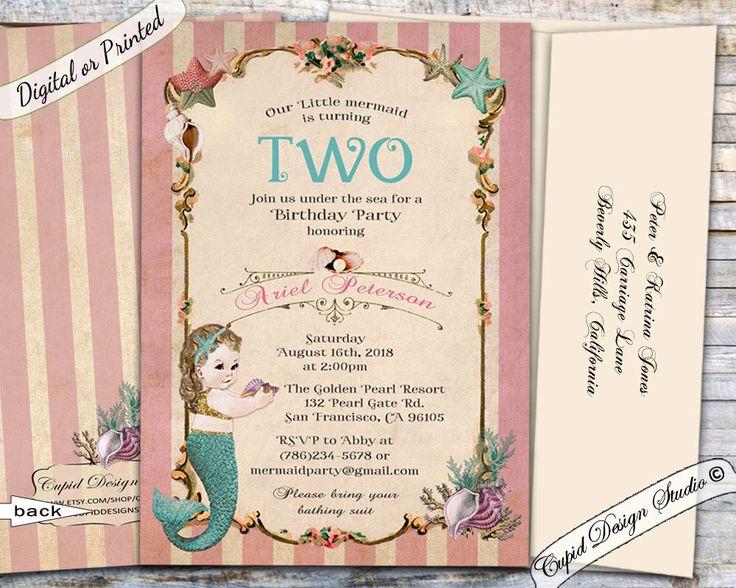 The 131 best birthday invitations images on pinterest etsy shop mermaid birthday invitation mermaid party invitation under the sea birthday invitation little mermaid invites filmwisefo