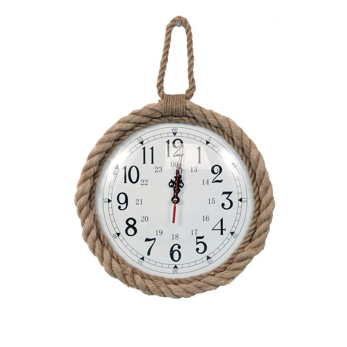 "DEI Latitude 38 12"" Jute Rope Trim Wall Clock & Reviews 