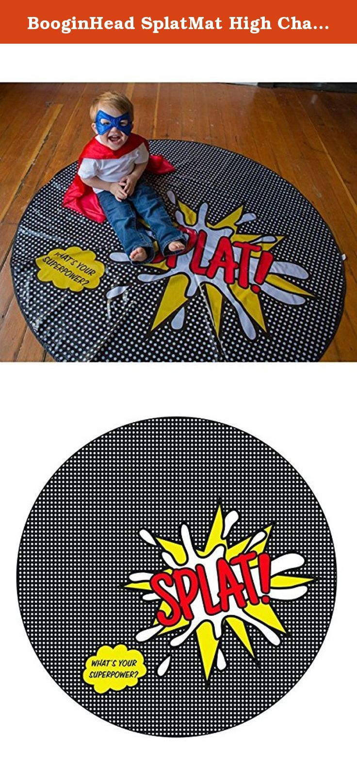 "BooginHead SplatMat High Chair Mat, Super Power SPLAT. No more sticky, messy floors! BooginHead's unique 52"" round SplatMat is a mat to place under your child's chair to catch spilled or dropped food. It's also great for protecting against art projects. Features: * Phthalate and BPA free. * 52"" round design covers more area than a typical square mat. * Compact for easy travel. * Great for picnics, parks, airports, art projects and beaches too. * Fits under any high chair. * Keep in your..."