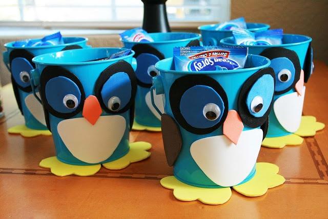 owl birthday party bucket