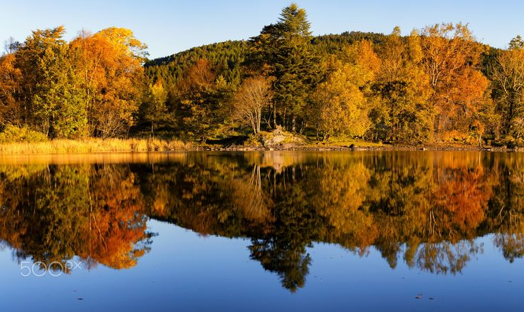 The Colours of Autumn - Beautiful autumn colours at the lake outside Bergen, Norway.