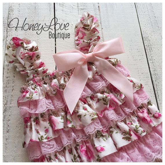 Floral Satin & Pink Lace Petti Romper, pettiromper, vintage inspired, photo prop, special occasions, smash cake, 1st First Birthday outfit by HoneyLoveBoutique on Etsy
