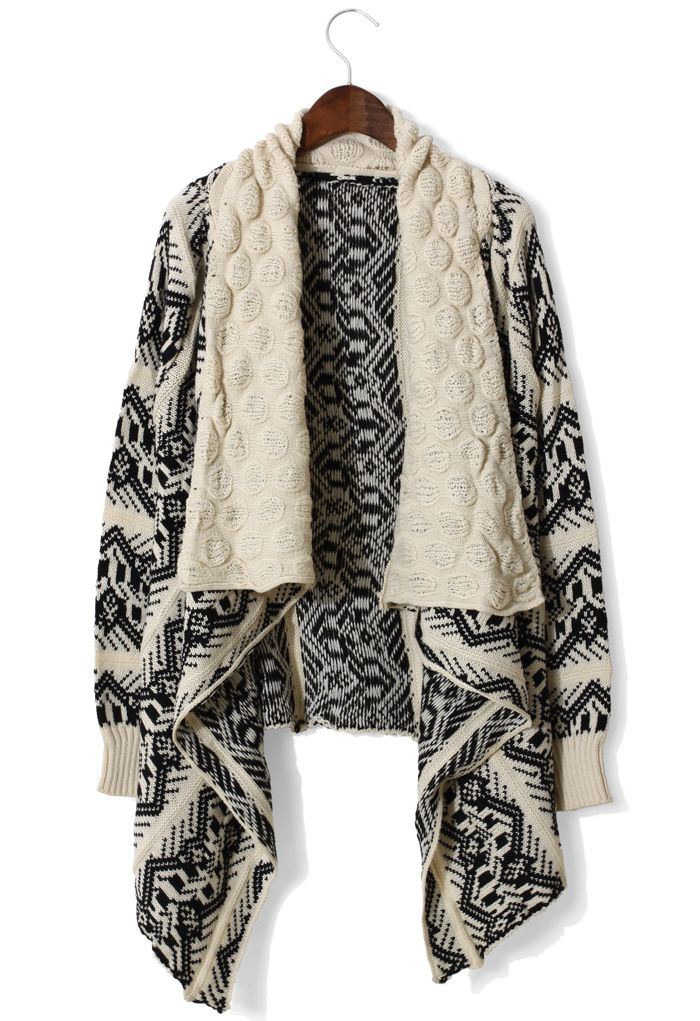 Aztec Knit Loose Drape Cardigan in Beige and Black: