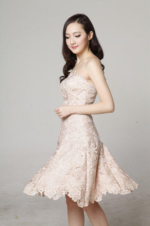 Abito da sposa in pizzo 2015 nuovo, vestito da partito, giacca e cravatta, elegante abito rosa, al ginocchio - NC560