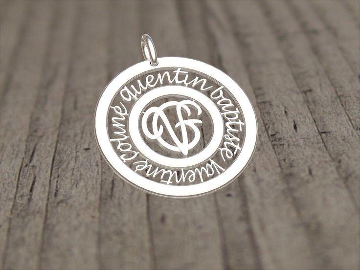 Médaille personnalisée or gris prénoms et initiales - Gregoire Dael Création