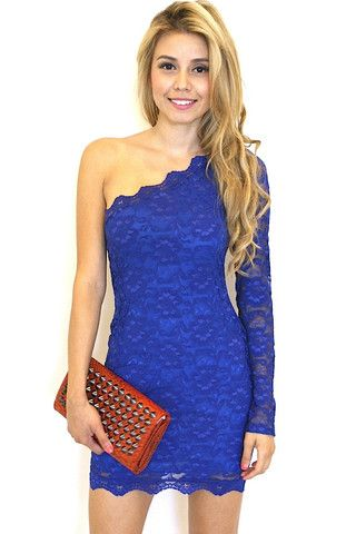 Blue Lace One Shoulder Long Sleeve Bodycon Dress