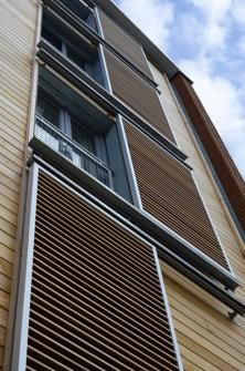 CUT YOUR AIR CONDITIONING BILL, then let the sun shine in for the winter.  Hunter Douglas shutter system, Merchants Quay development at Gloucester Docks
